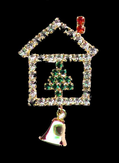 Crystal Christmas Holiday House Jewelry Pin