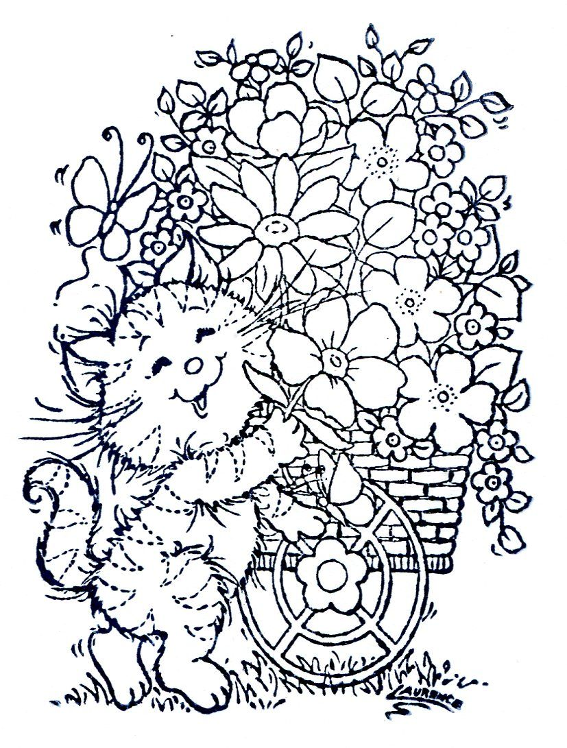 Stamp Cat With Flower