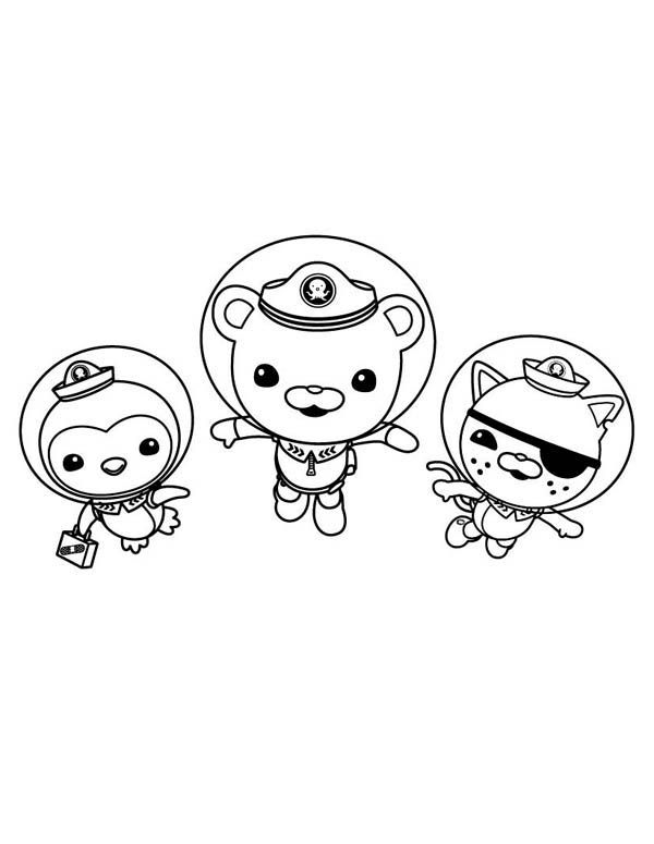 the octonauts kwazii and peso and captain barnacles swimming in