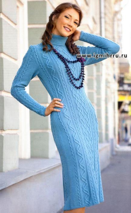 Теплое платье спицами фото 99-10