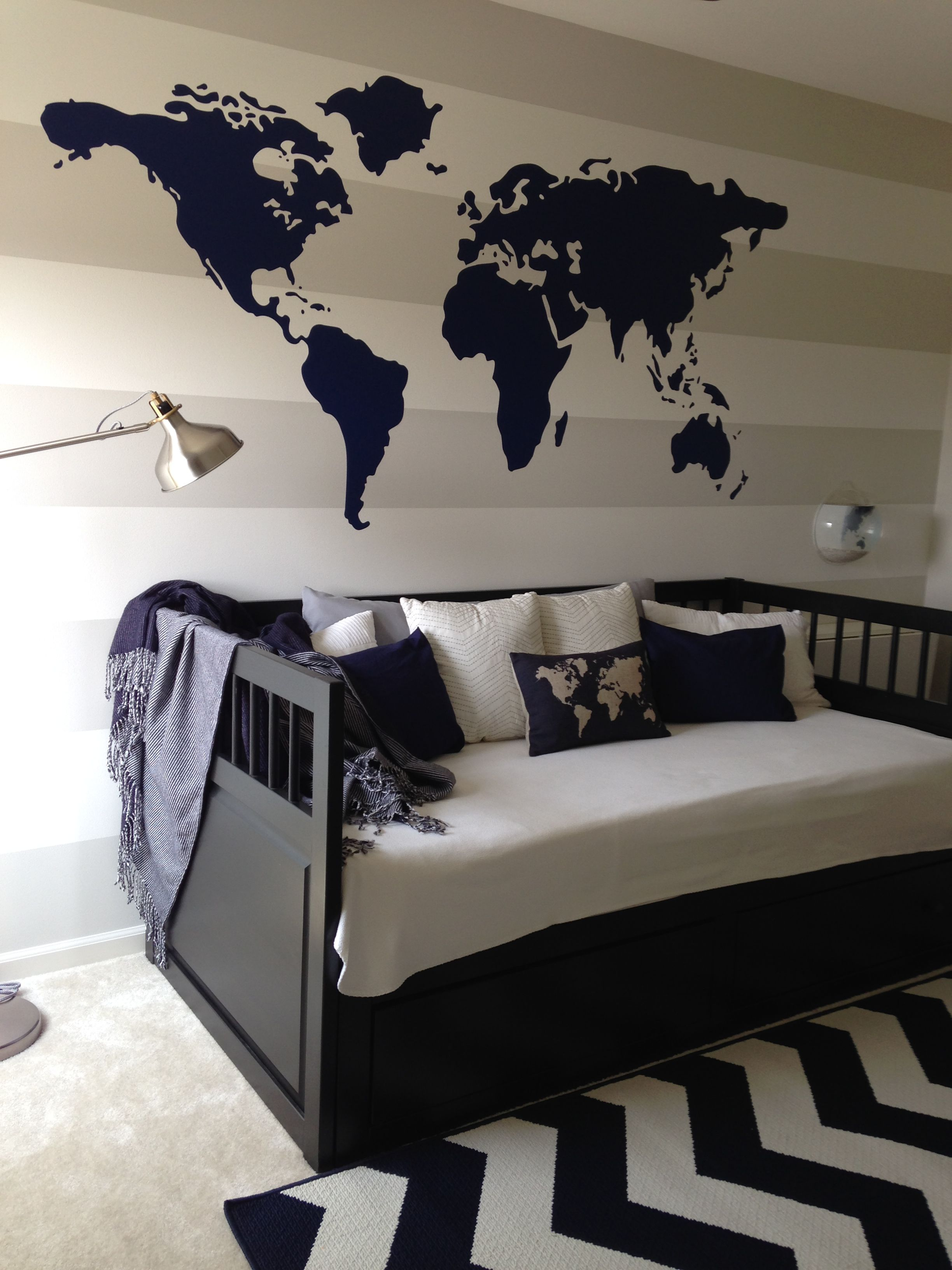 Navy blue world theme toddler room gray and white stripe bedroom navy blue world theme toddler room gray and white stripe bedroom ikea day bed target threshold gumiabroncs Image collections
