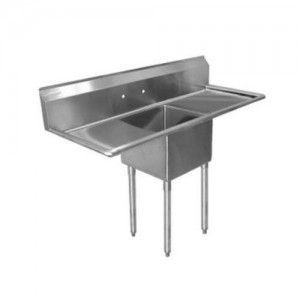 1 Compartment Stainless Steel Commercial Sink With Drainboards 17 X 17 X 12 Inch Compartmen Commercial Style Kitchen Commercial Sink Drainboard Sink