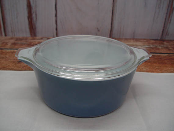Slate Blue Pyrex 475 Covered Casserole Dish 2 1/2 Quarts