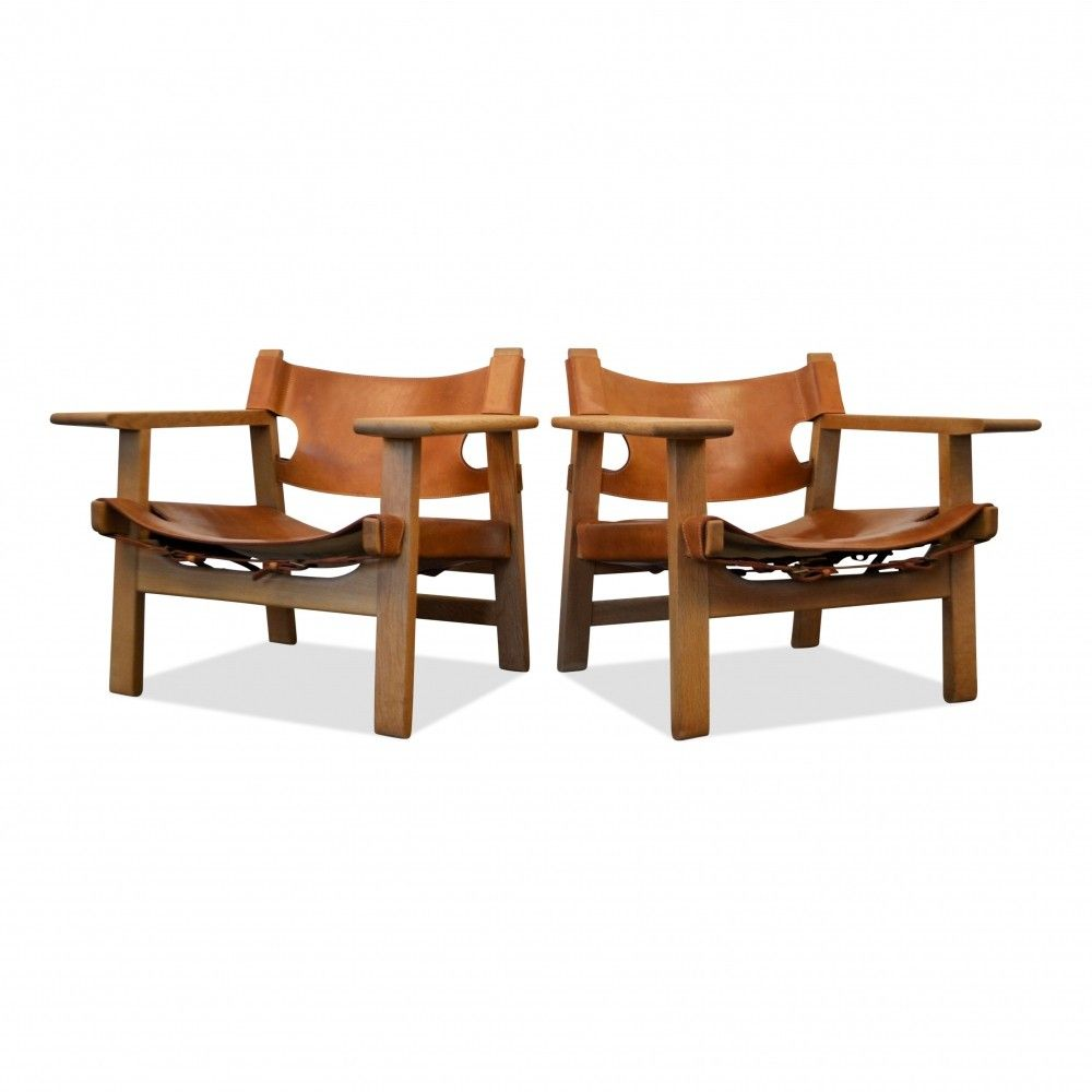 Pair Of Vintage Borge Mogensen Oak Leather Spanish Chairs Vintage Design Seating Chair Outdoor Chairs Bar Chairs