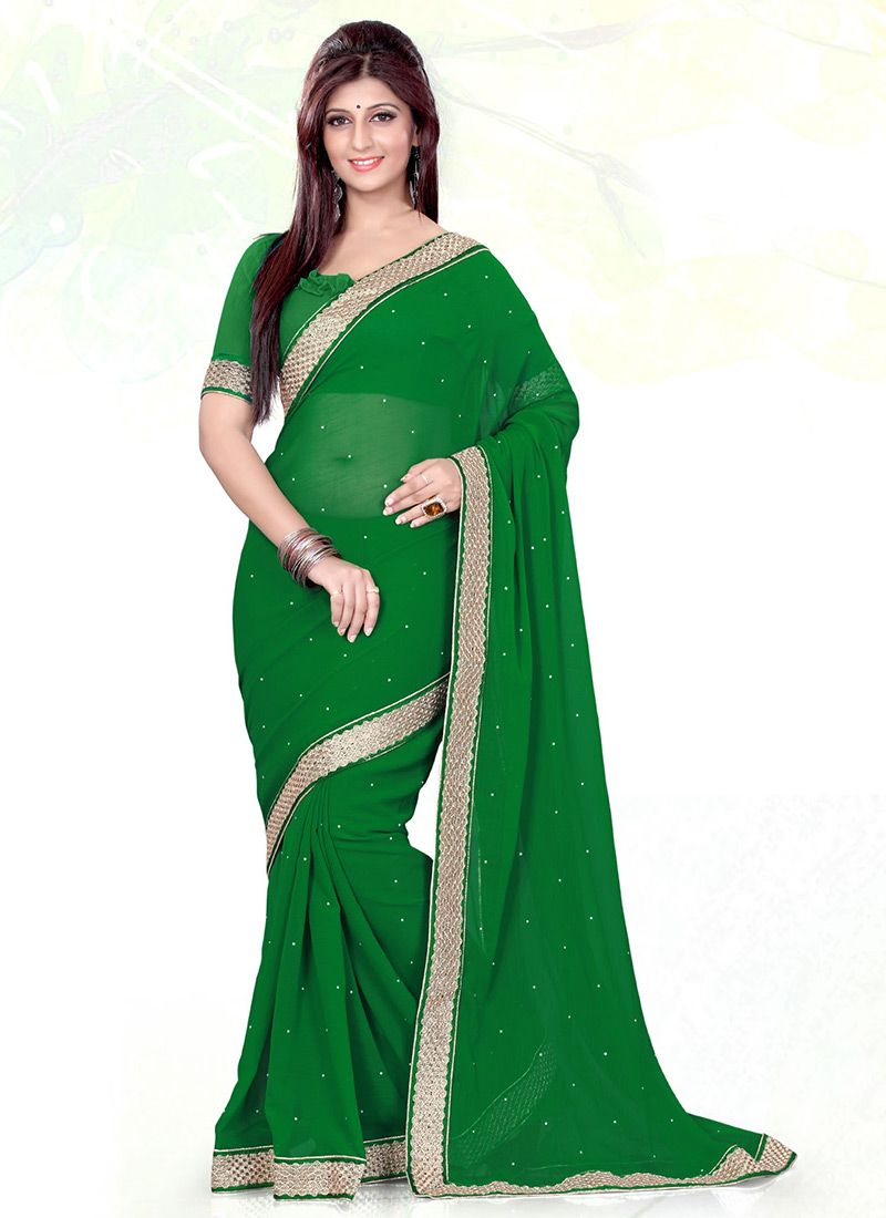 Beautifulgreenchiffonsareesasmrkrug raining