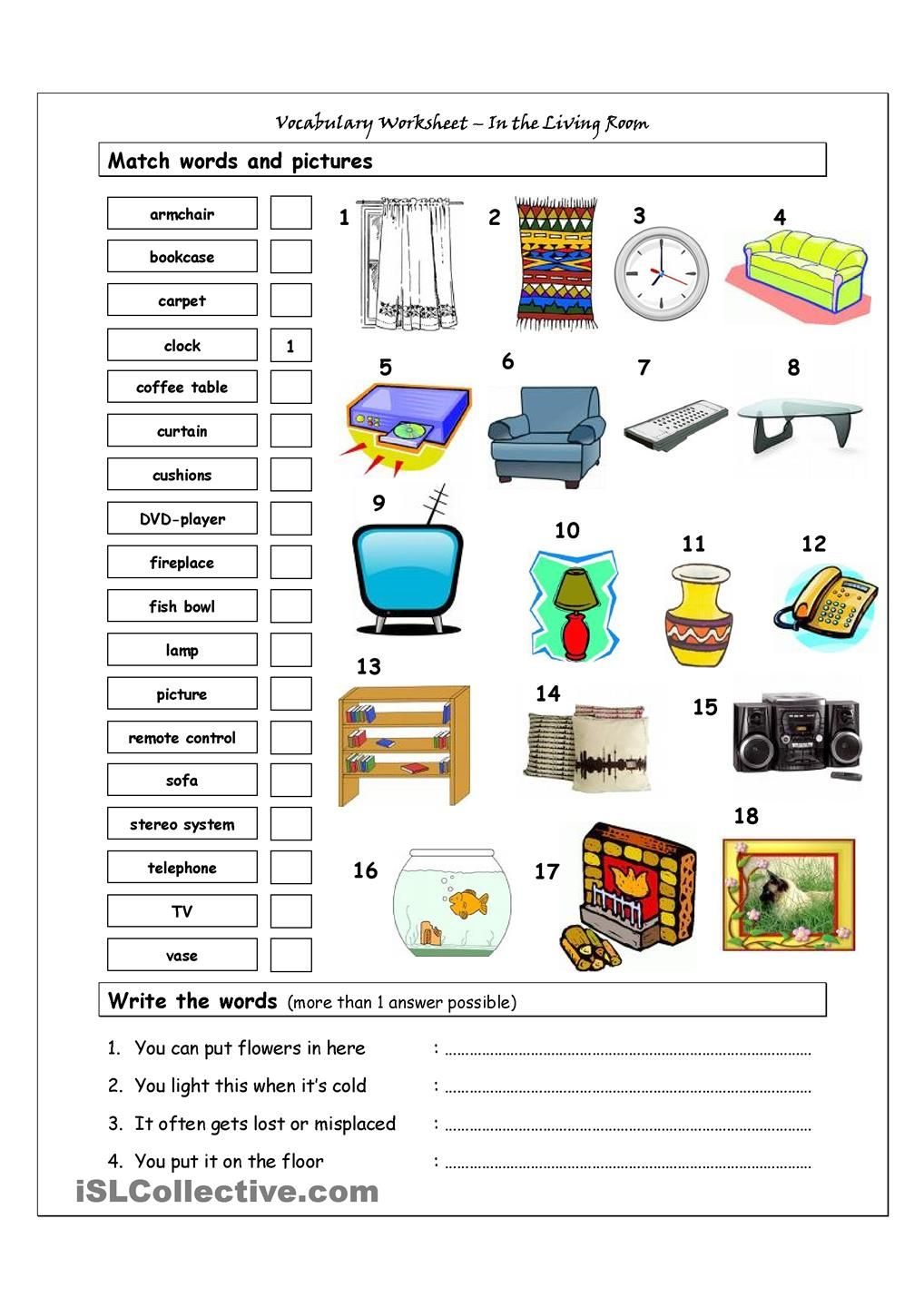 Vocabulary matching worksheet in the living room for Living room vocabulary