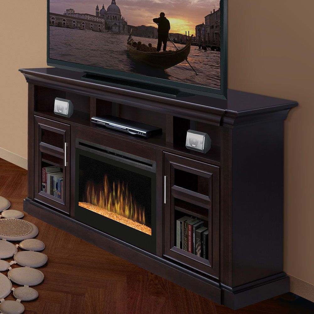 Dimplex Bailey Espresso Electric Fireplace Media Console Glass ...