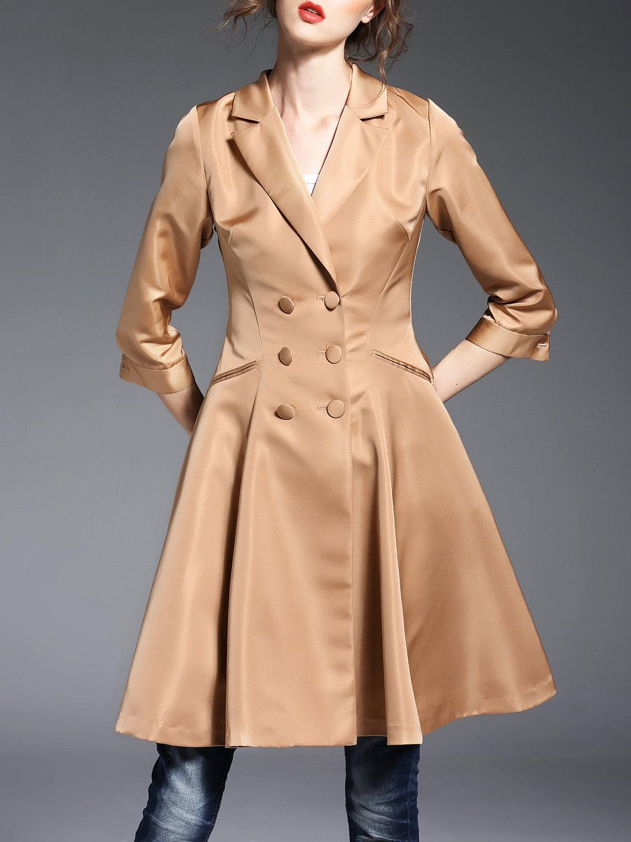 #AdoreWe #StyleWe Oushiying Double Breasted 3/4 Sleeve Plain Simple  A-line Coat - AdoreWe.com