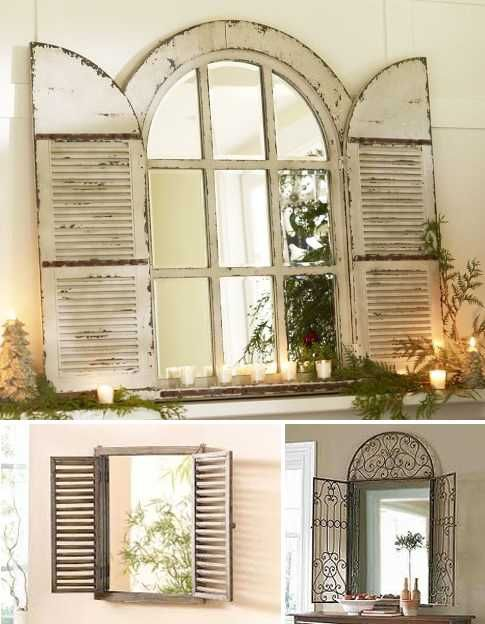 Vintage window shutter decor wooden and metal for Window design on wall