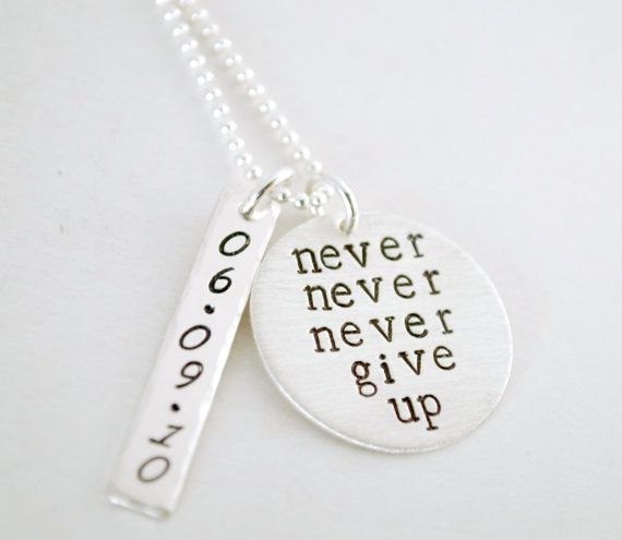 Never never never give up with personalized anniversary date pendant never never never give up with personalized anniversary date pendant recovery necklace hand stamped sterling silver encouragement necklace aloadofball Images