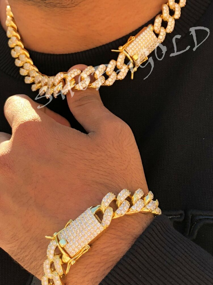 Men/'s Miami Cuban Link Chain 15mm Ice Out 14k White Gold Diamond Real ICY Choker
