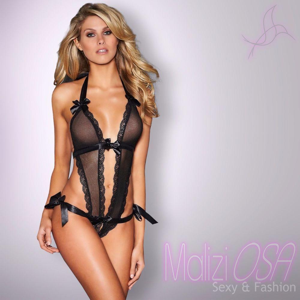 c8c947fdc6 Intimo donna lingerie body nero pizzo trasparente perizoma hot ...
