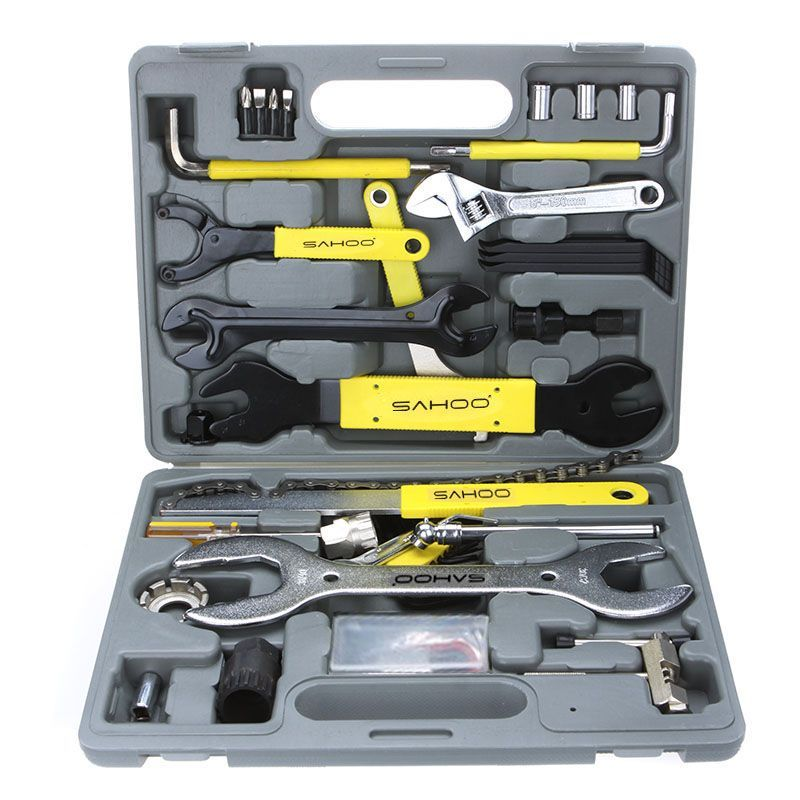 SAHOO Bike Bicycle Repairing Tool Set Kit Case Box Universal for