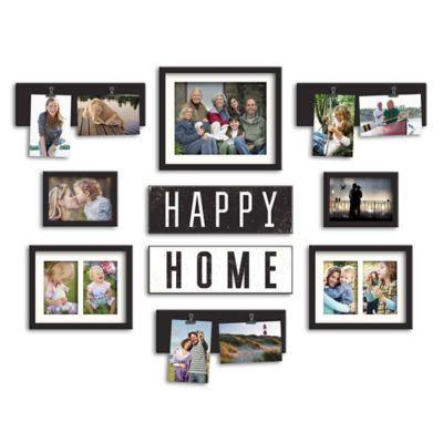 Wallverbs 10 Piece Happy Home Photo Frame Collection In Satin Black Photo Frame Collections Home Photo Frame