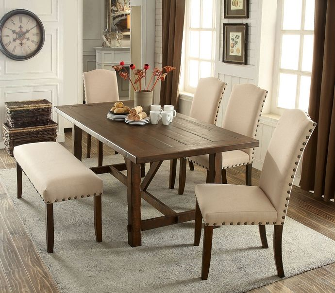 6 Pc Brentford Collection Rustic Walnut Finish Wood Transitional Style Dining Table Set With Nail Head