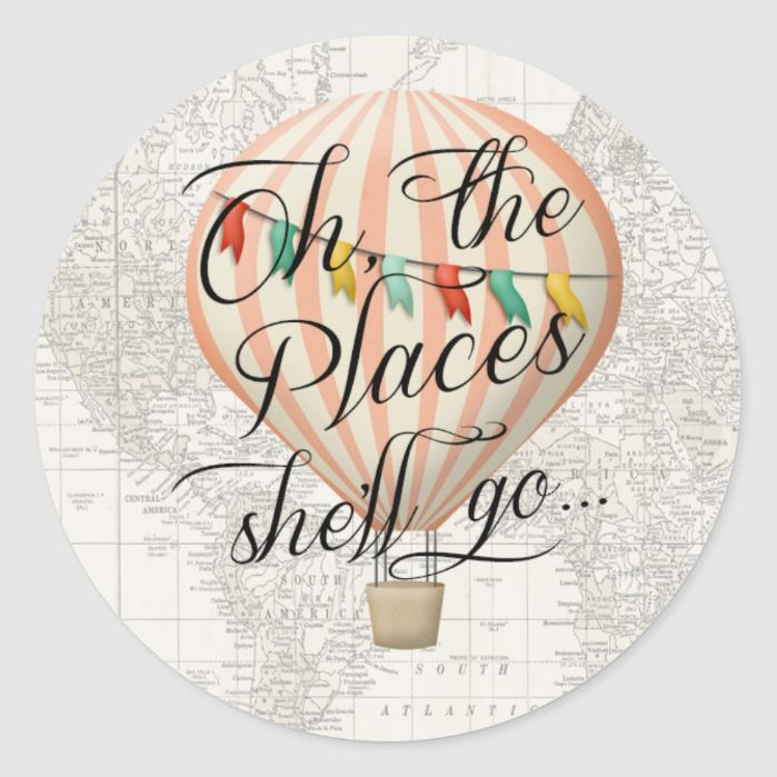 Hot Air Balloon Sticker Map Oh the Places Pink | Zazzle.com