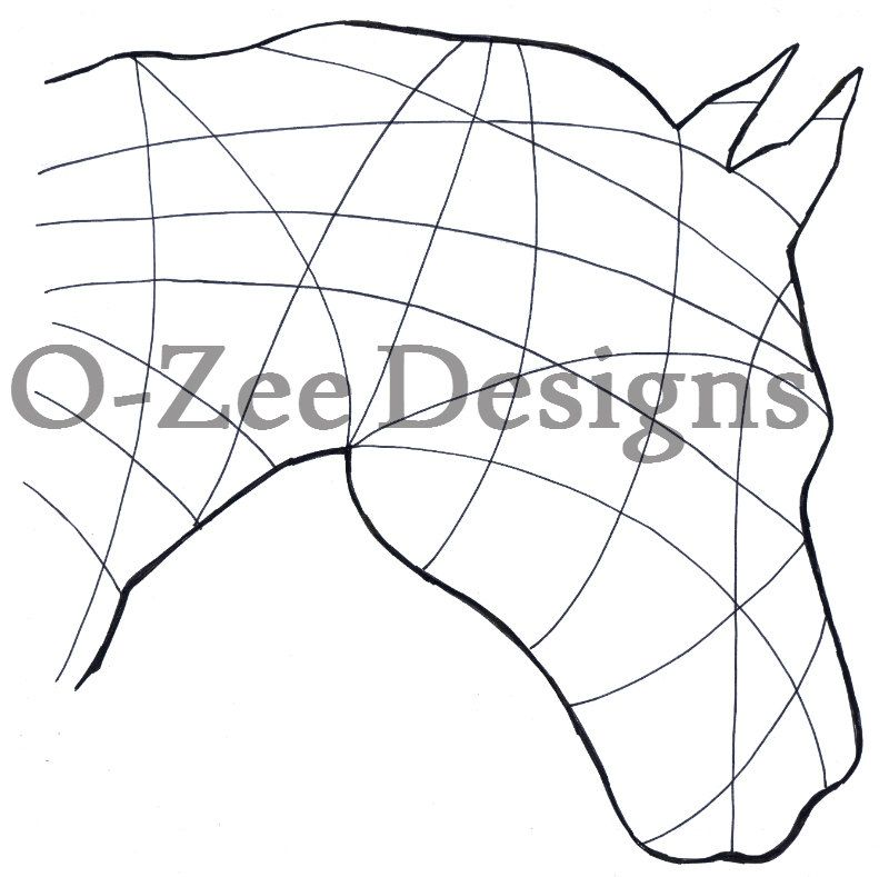 Horse Zentangle Outline. PDF Template A4 by OZeeDesigns on