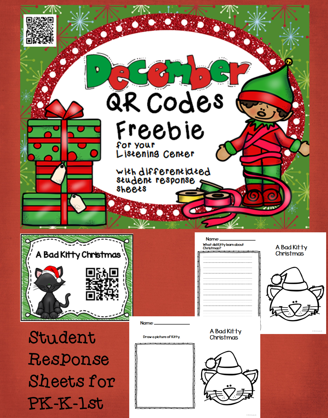 4 Christmas Qr Codes For Your Listening Center With Student Response Sheets Freebie Students