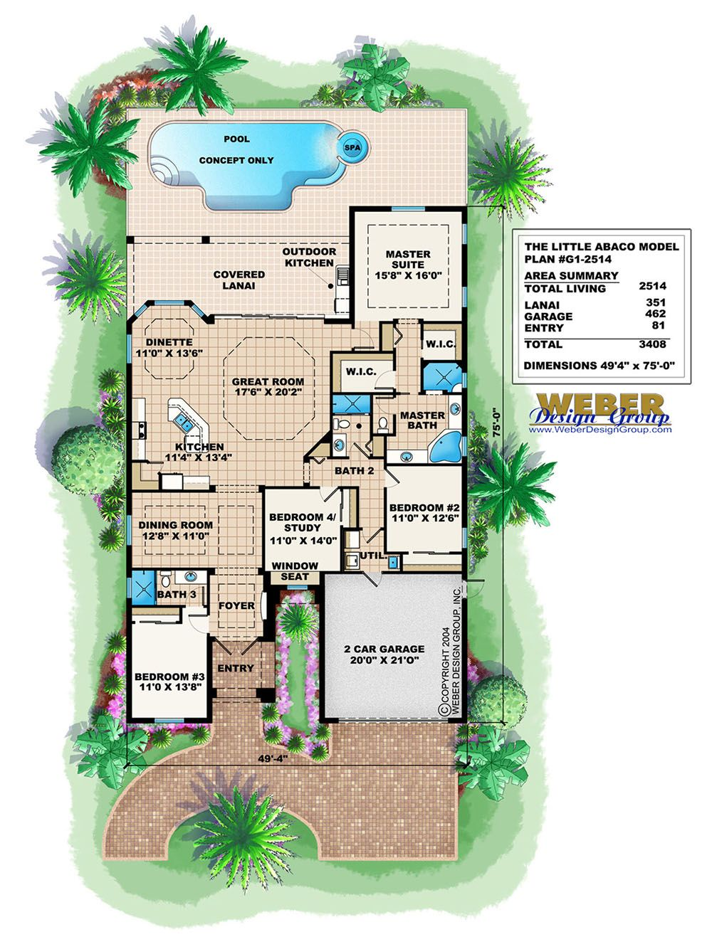 Mediterranean House Plan One Story Home Floor Plan For Narrow Lot Mediterranean House Plans House Plans One Story Florida House Plans