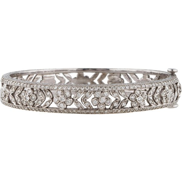 Pre-owned Penny Preville Diamond Flower Bracelet ($6,500) ❤ liked on Polyvore featuring jewelry, bracelets, bangle jewelry, diamond jewelry, flower jewelry, 18k jewelry and hinged bracelet