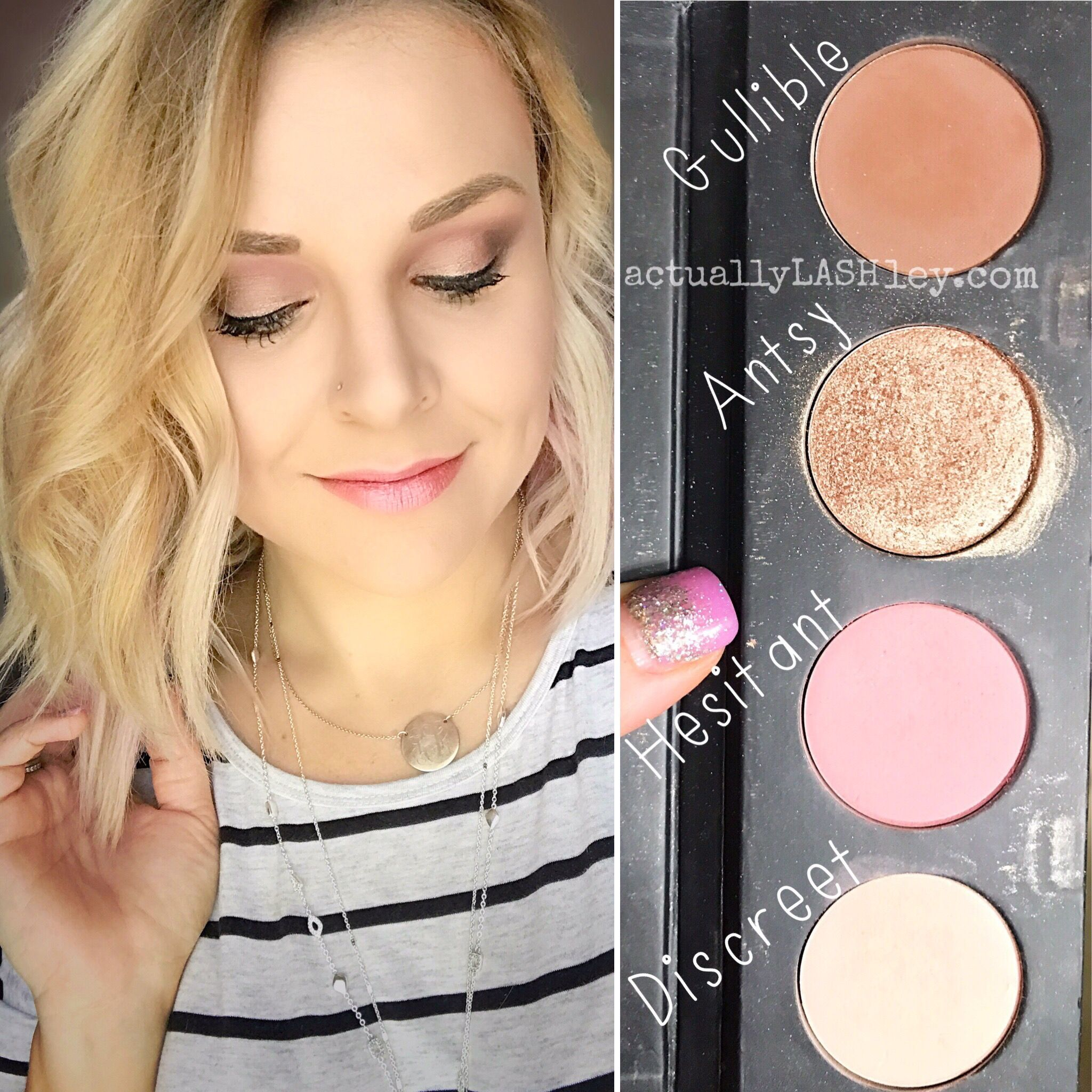 Younique pressed shadows in discreet. Hesitant, antsy and gullible. #youniquepressedshadows