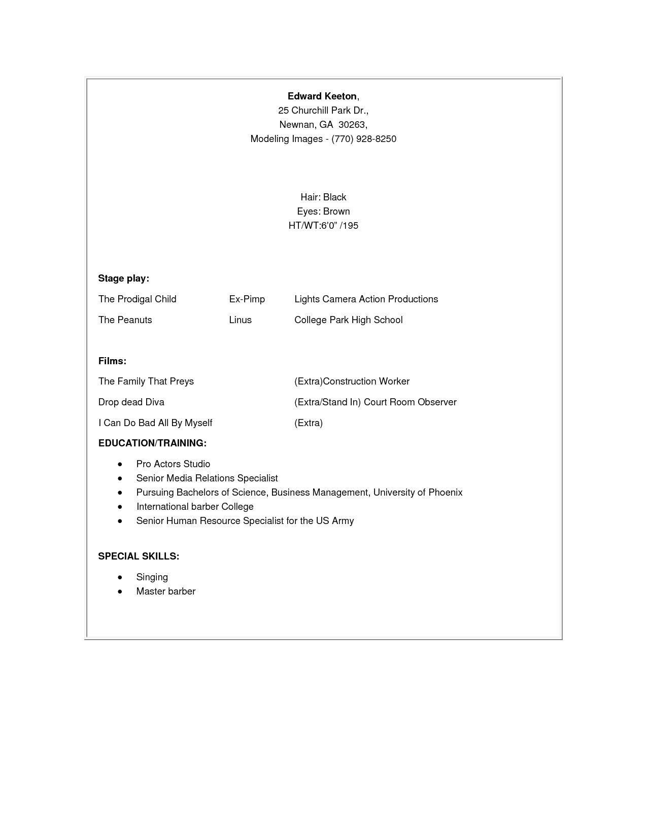 Child Resume Resume Sample Child Acting Template How Pertaining Model Format