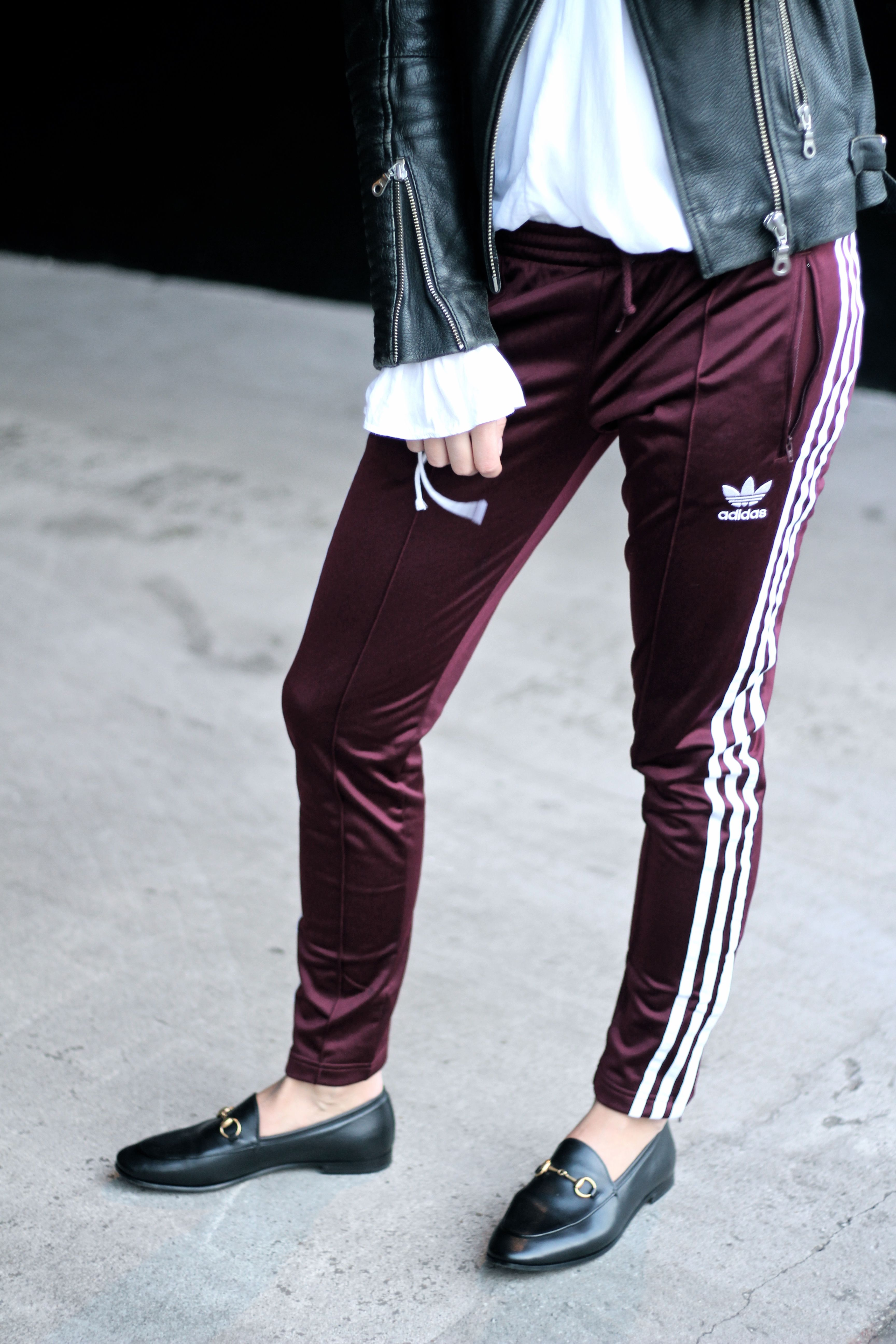 Gucci jordaan loafers mixed with Adidas burgundy sports pants