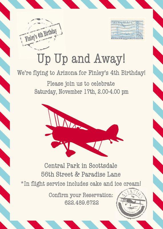 red and aqua vintage airplane invitation by stylemeshabbychic
