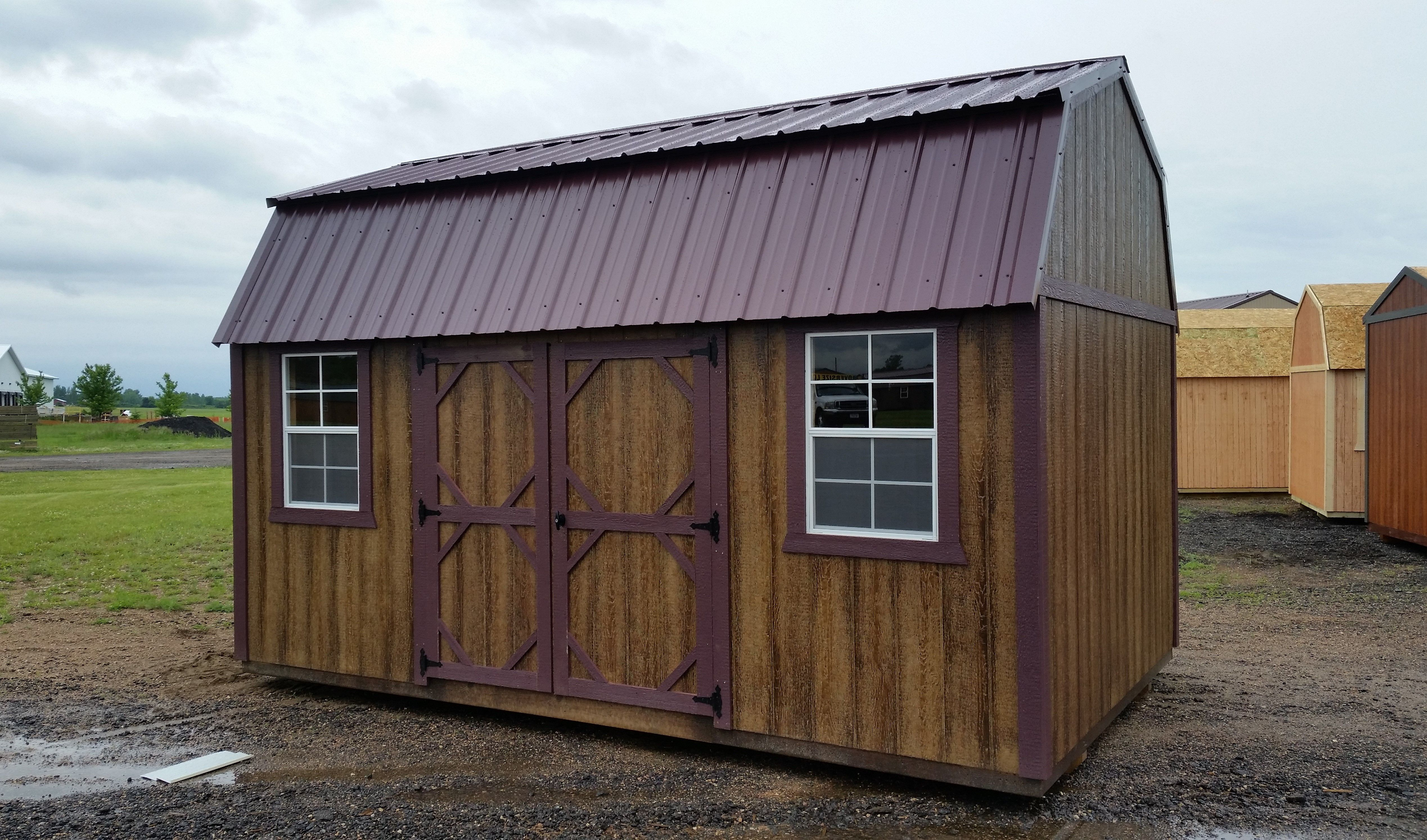 Grandview Buildings 10x16 Side Lofted Barn Burgandy Metal Roof With Matching Trim Lp Smartside Siding With Haley Chestn Portable Sheds Metal Roof Bank Barn
