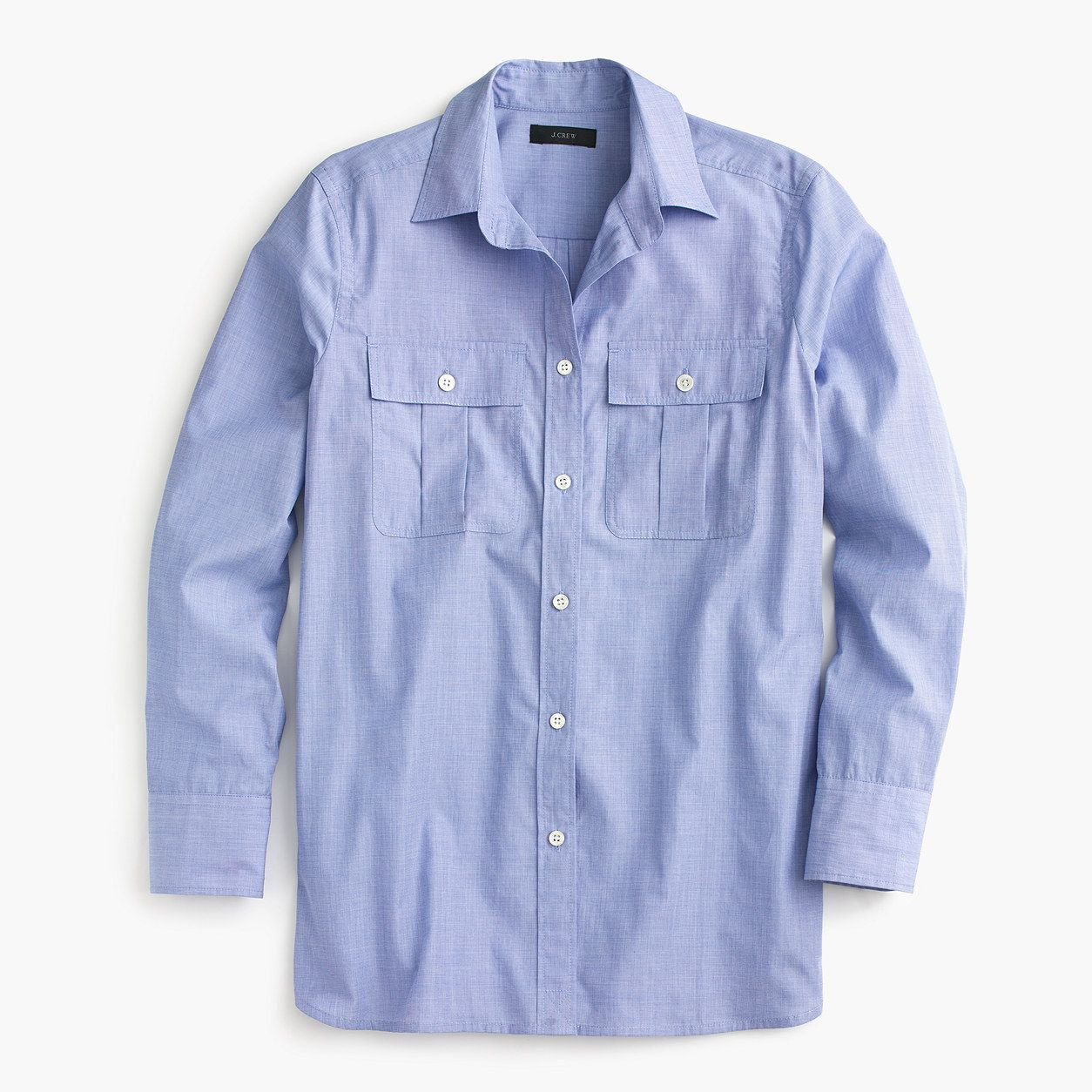 J.Crew Womens End-On-End Cotton Workshirt (French Blue 0e3b2383dc