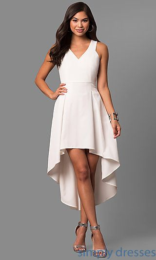 3e9acf225e Shop ivory high-low party dresses at Simply Dresses. Cheap short white  dresses under  100 with v-necklines and box-pleated skirts.