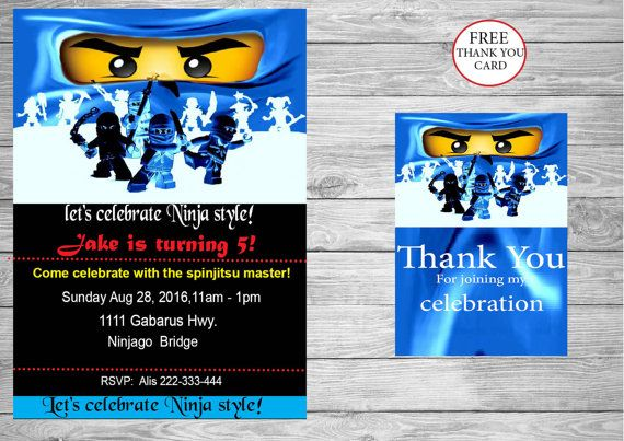 Ninjago Party Eyes Birthday Invitation Free Instant Download Thank You Card