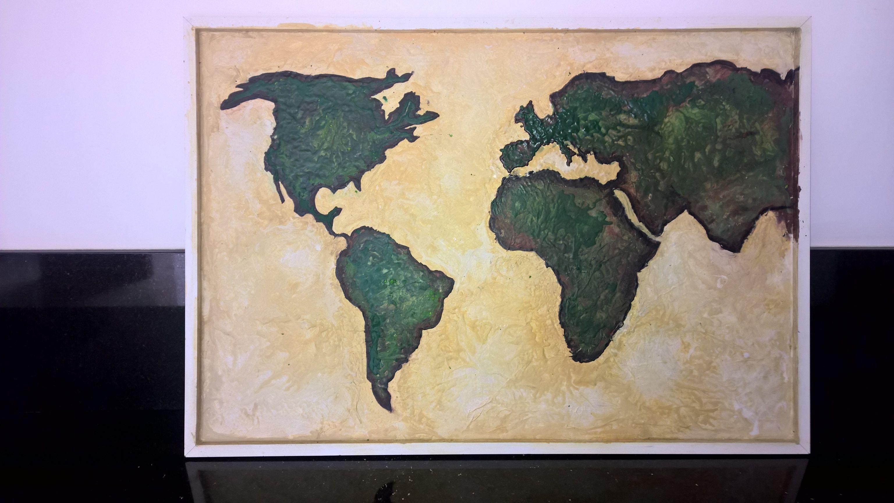 Diy crayon world map.