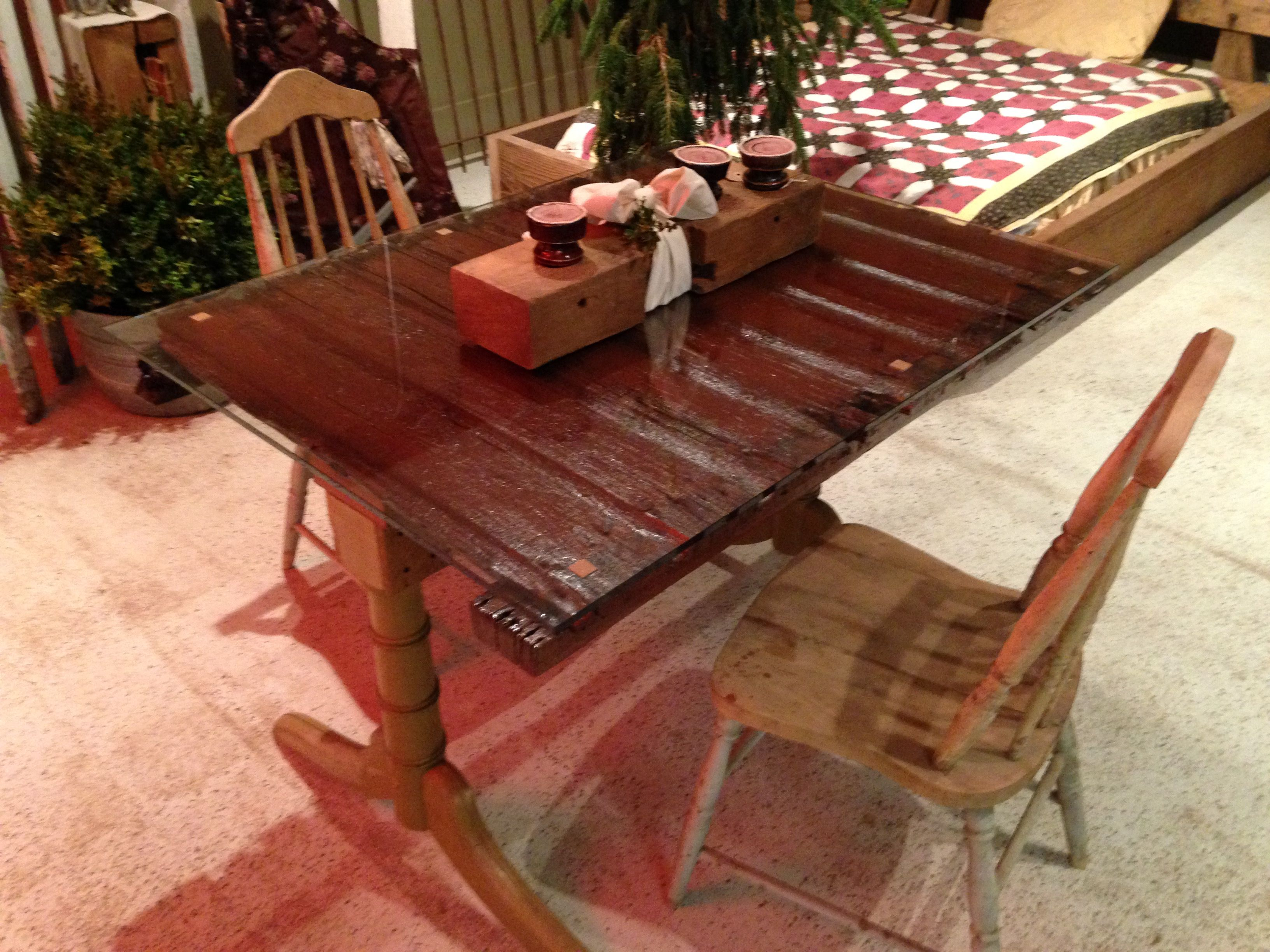 Repurposed small kitchen table - barn door top with ...