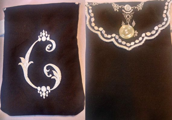 Embroidered C Monogram Wristlet by cajunstitchery on Etsy