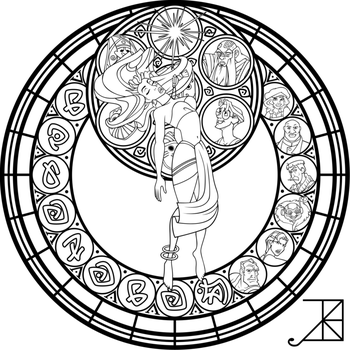 Sg Kida Lineart By Akili Amethyst Disney Stained Glass Disney Coloring Pages Cool Coloring Pages