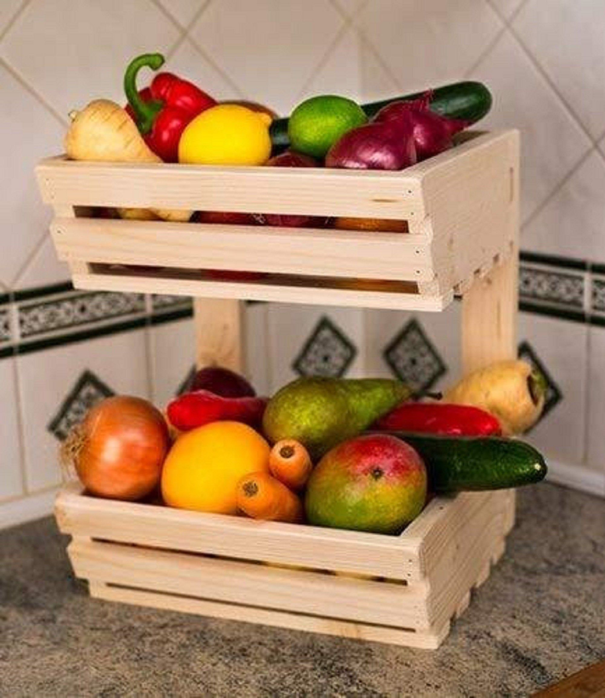 Crate Kitchen Organizer Wooden Crate Apple Crate Vegetable Box Etsy In 2020 Fruit And Vegetable Storage Vegetable Bin Fruit Storage