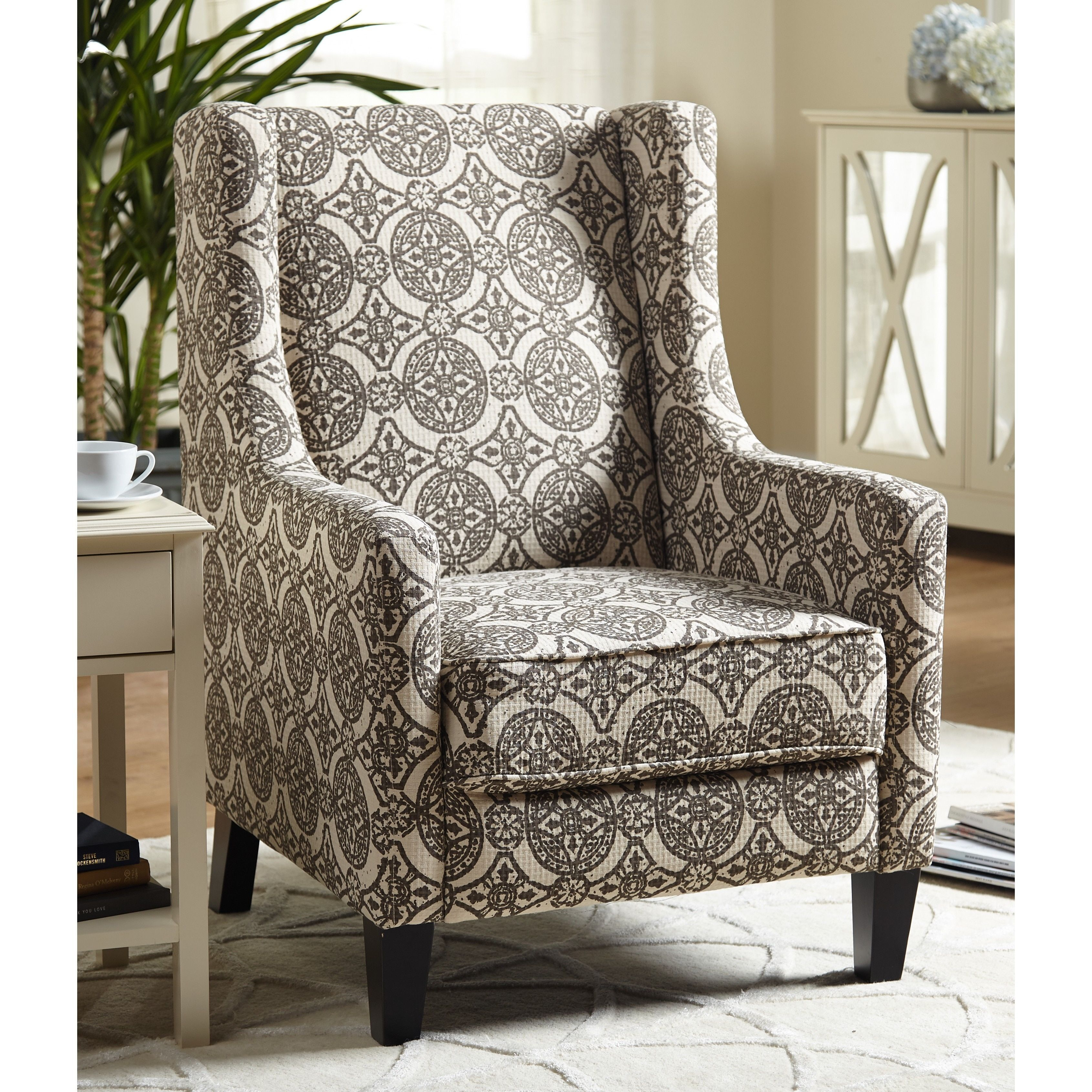 Simple Living Wing Accent Chair Off White And Dark Brown Geometric