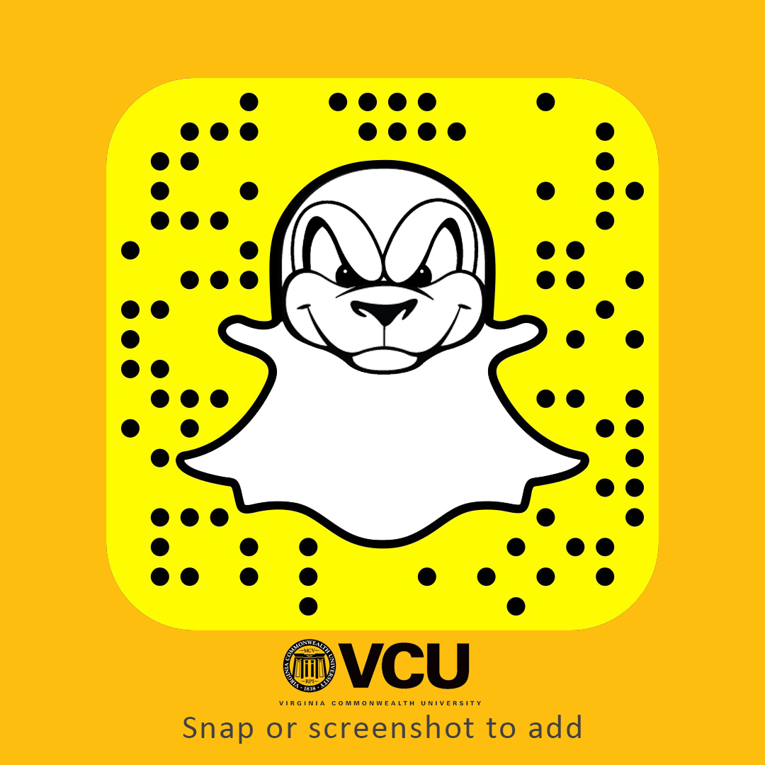 VCU is on Snapchat! Add us by QR code or search for us