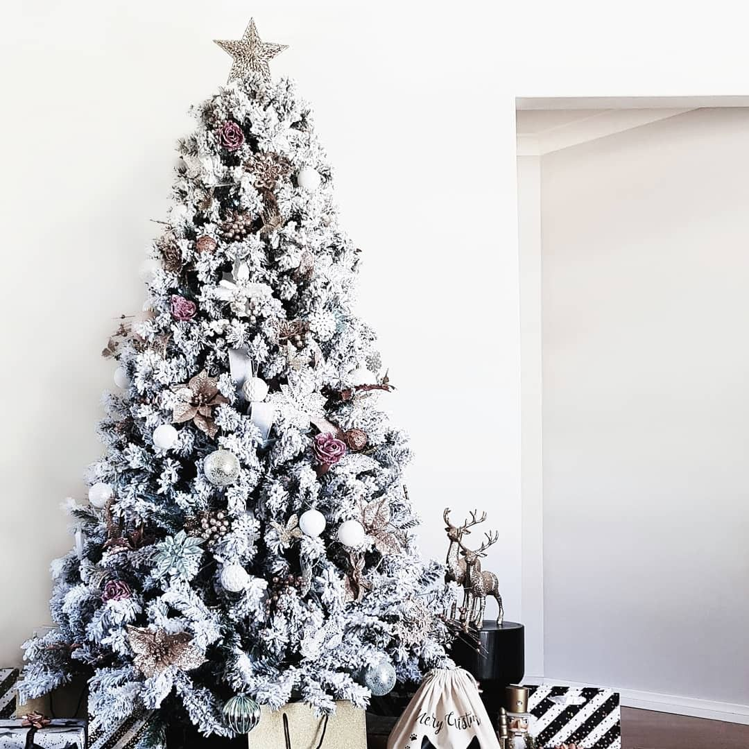 This Year S Christmas Theme Is All About Champagne Pink Blue Flocking Tree From David Jones Tree Decorations From David Jones Kmart Christmas Christmas Tree Tree Decorations