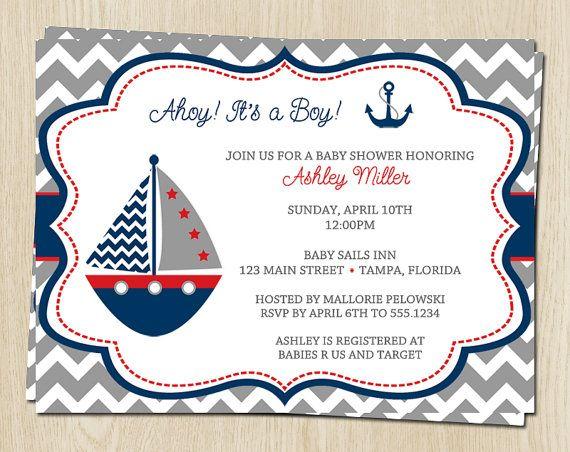 Nautical Chevron Baby Shower Invitations for Boys in Gray ...