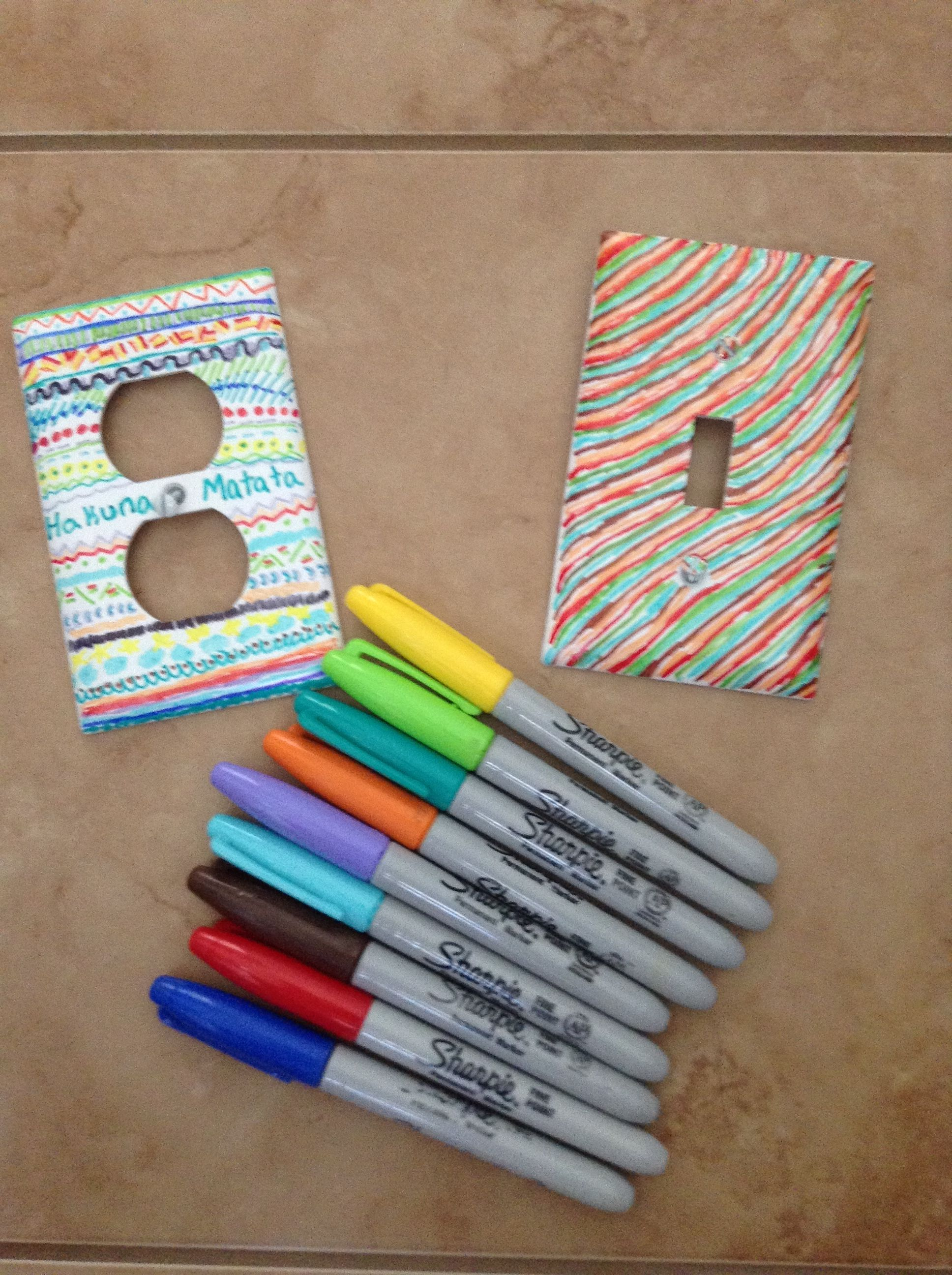 Diy Outlet Covers Sharpie On Plain Outlets( 20 Cents At
