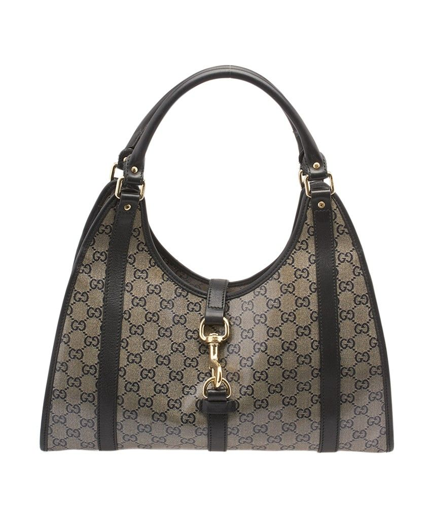 2e5bd9f5a99 Gucci Jackie O Black GG Crystal Coated Canvas   Leather Hobo ...