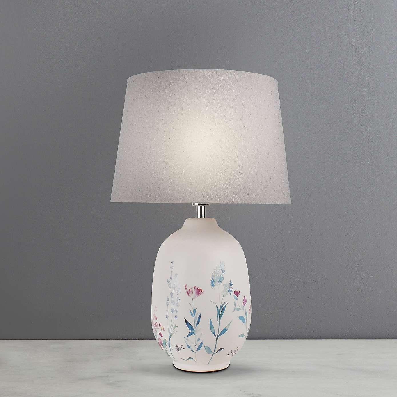 Light NEW White Ceramic Base With Shade 60W LED E26 TABLE LAMP