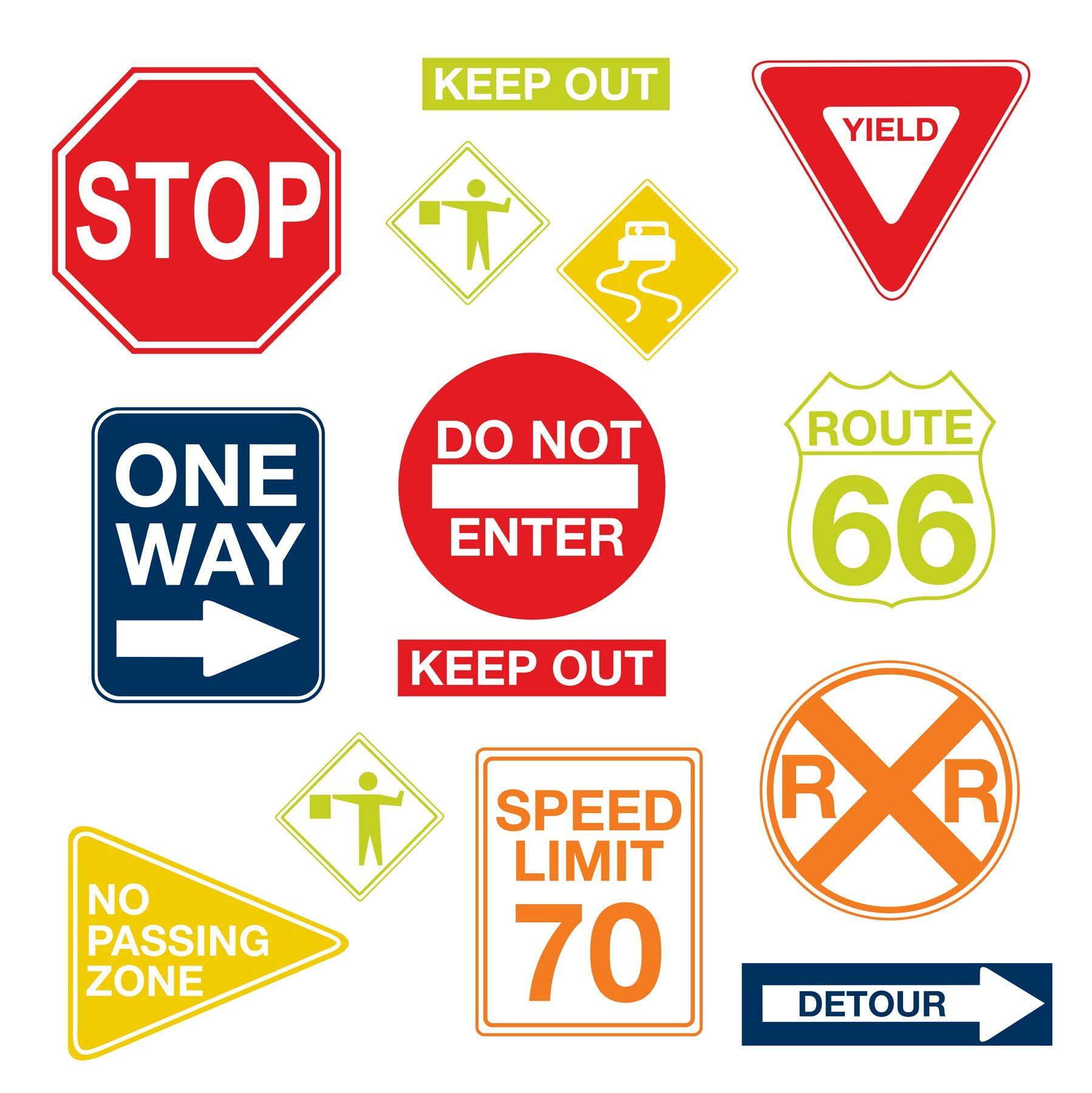 Wall Pops Wpk0617 Road Signs Decals 17 25 Inch By 39 Two Sheets