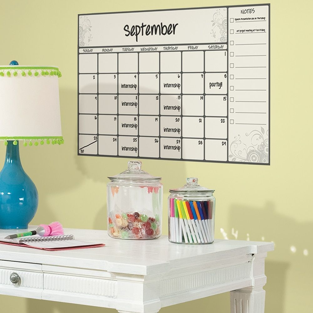 Roommates Scroll Dry Erase Calendar Peel and Stick Wall Decal ...
