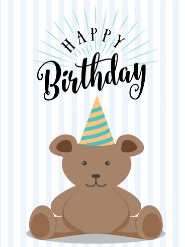 Cute Bear Happy Birthday Card For Kids Birthday Greeting Cards By Davia Happy Birthday Cards Happy Birthday Kids Kids Birthday Cards