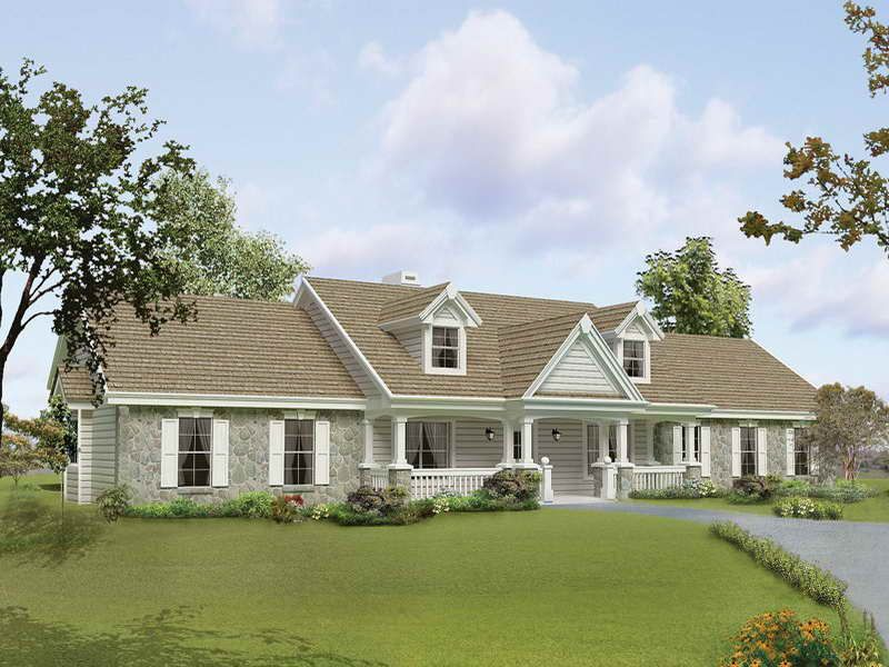 House exteriors ranch cottage style open floor plan for Southern style ranch home plans