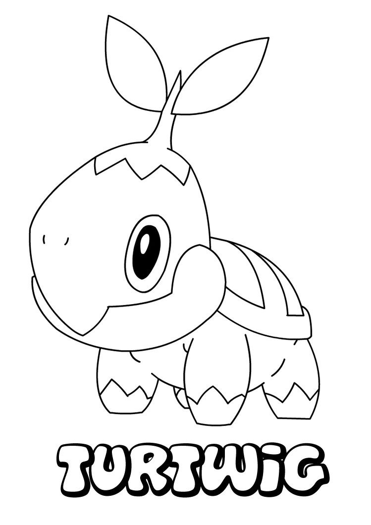 Turtwig pokemon coloring page more grass pokemon coloring sheets on