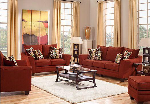 Santa Monica Red 7 Pc Living Room Living Room Sets Room Set And